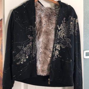 Medium Miss Me fur lined hooded sweatshirt